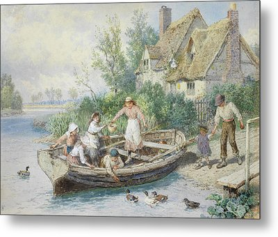 The Ferry Metal Print by Myles Birket Foster