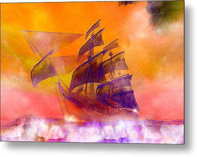 The Flying Dutchman Ghost Ship Metal Print by Carol and Mike Werner