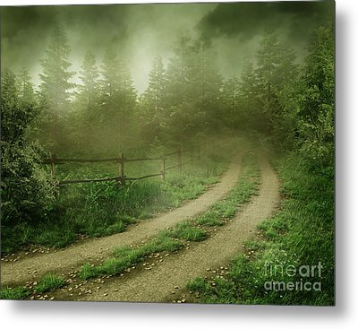 The Foggy Road Metal Print by Boon Mee