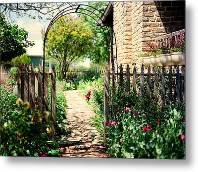 The Garden Gate Metal Print by Linda Unger