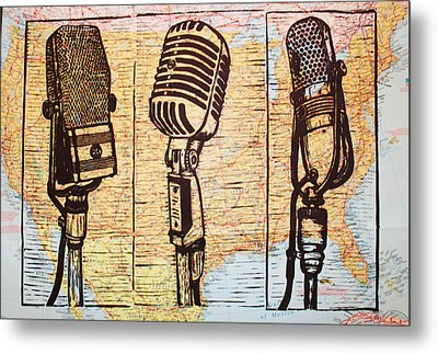 Three Microphones On Map Metal Print by William Cauthern