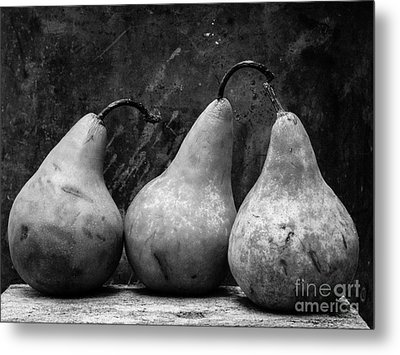 Three Pear Still Life Black And White Metal Print by Edward Fielding