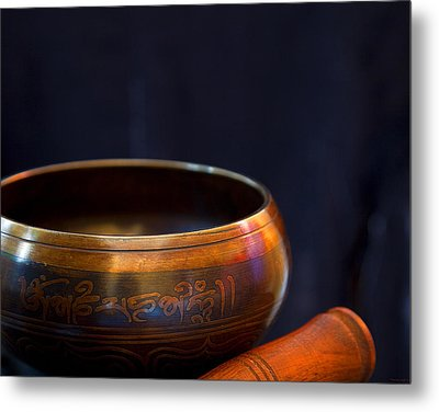 Tibetan Singing Bowl Metal Print by Theresa Tahara