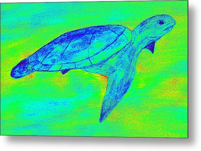 Turtle Life - Digital Ink Stamp Green Metal Print by Brett Smith
