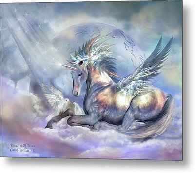 Unicorn Of Peace Metal Print by Carol Cavalaris