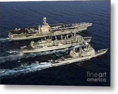 Uss John C. Stennis, Uss Mobile Bay Metal Print by Stocktrek Images