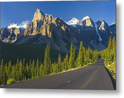 View Of Glacial Mountains And Trees Metal Print by Laura Ciapponi