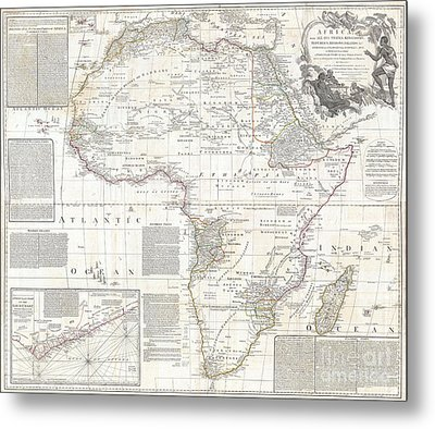Vinatge Old World Map Of Africa Metal Print by Inspired Nature Photography Fine Art Photography