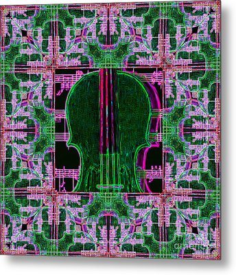 Violin Abstract Window - 20130128v2 Metal Print by Wingsdomain Art and Photography