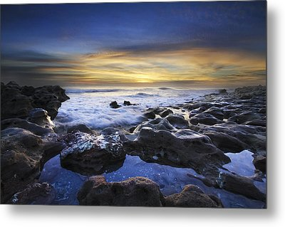 Waves At Coral Cove Beach Metal Print by Debra and Dave Vanderlaan