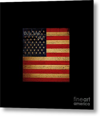 We The People - The Us Constitution With Flag - Square Black Border Metal Print by Wingsdomain Art and Photography