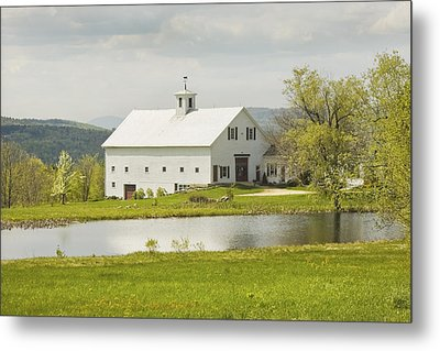 White Barn On Farm In Maine Fine Art Prints Metal Print by Keith Webber Jr