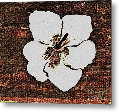 White Hibiscus Digital Painting Metal Print by Marsha Heiken