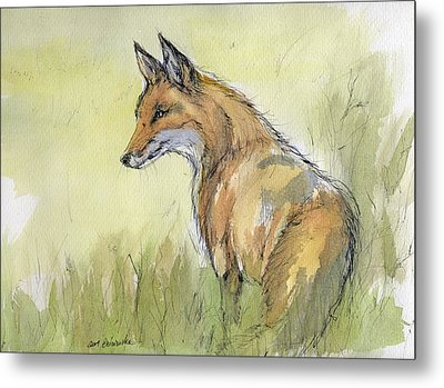Wild Fox Watercolor Painting Metal Print by Angel  Tarantella