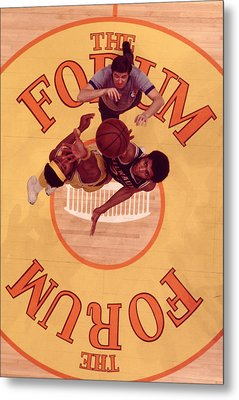 Wilt Chamberlain Vs. Kareem Abdul Jabbar Tip Off Metal Print by Retro Images Archive