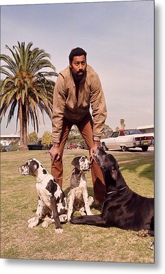 Wilt Chamberlain With Dogs Metal Print by Retro Images Archive