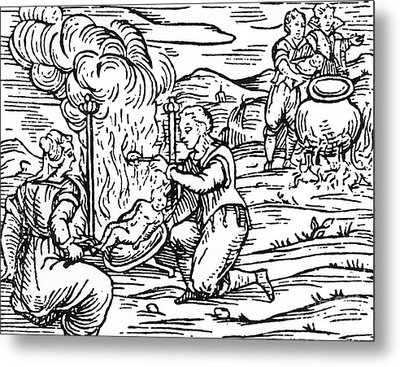 Witches Roasting And Boiling Infants Metal Print by Italian School