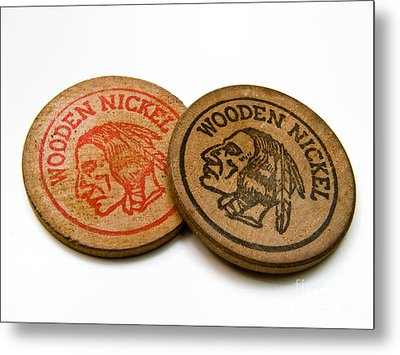 Wooden Nickels Metal Print by Amy Cicconi