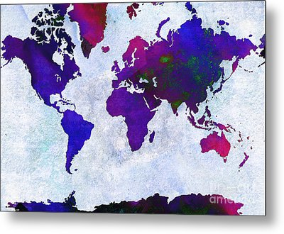 World Map - Purple Flip The Light Of Day - Abstract - Digital Painting 2 Metal Print by Andee Design