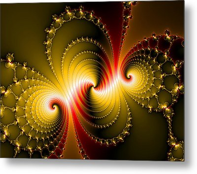 Yellow And Red Metal Fractal Art Metal Print by Matthias Hauser