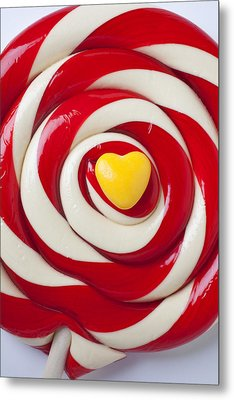 Yellow Candy Heart On Sucker Metal Print by Garry Gay