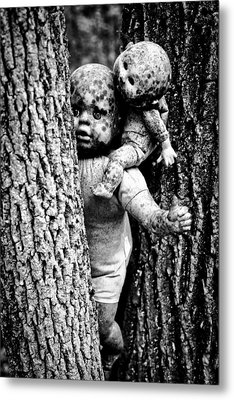 Zombie Dolls Black And White Metal Print by Shelly Stallings