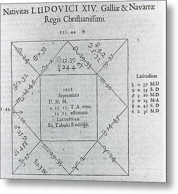 Horoscope Chart For Louis Xiv, 1661 Metal Print by Science Source