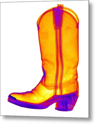 X-ray Of A Cowboy Boot Metal Print by Ted Kinsman