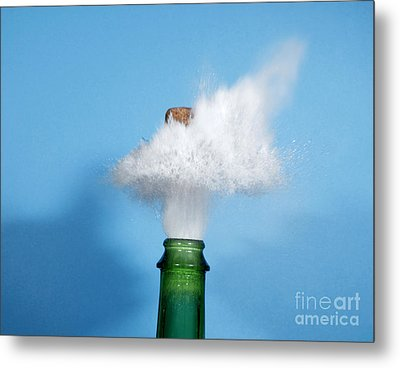 Champagne Cork Popping Metal Print by Ted Kinsman