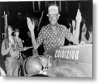 African American Man With Arms Raised Metal Print by Everett