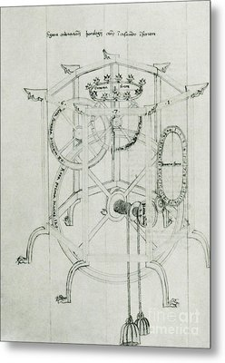 Astrarium Sketch By Giovanni De Dondi Metal Print by Science Source