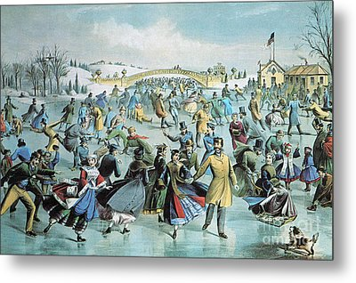 Central Park Skating Pond New York Metal Print by Photo Researchers