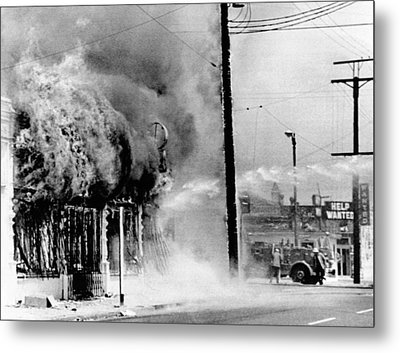 Fire On A Block During The 4th Day Metal Print by Everett