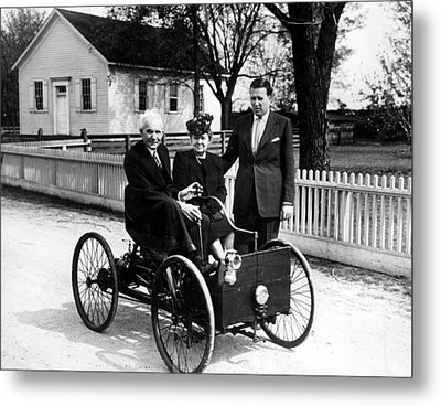 Henry Ford In His First Automobile Metal Print by Everett