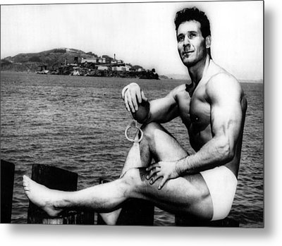 Jack Lalanne Before Handcuffed Swim Metal Print by Everett