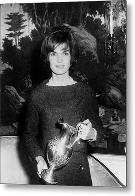 Jacqueline Kennedy Holds A Silver Metal Print by Everett