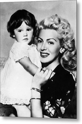 Lana Turner Right, And Daughter Cheryl Metal Print by Everett