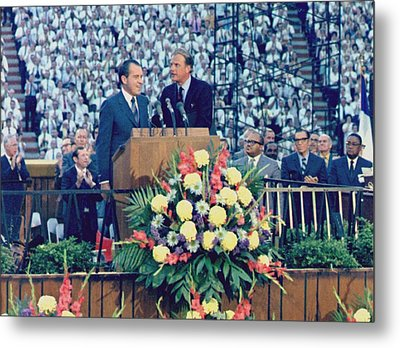 Nixon Appeared At One Of Billy Grahams Metal Print by Everett