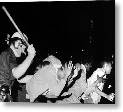Police Club Demonstrators In Harlem Metal Print by Everett
