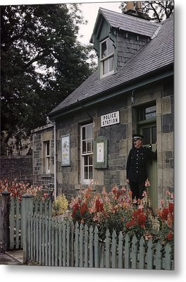 Policeman And Dog Stand At Police Metal Print by B. Anthony Stewart