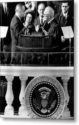 President Johnson Takes The Oath Metal Print by Everett