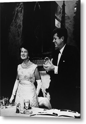 President Kennedy Joins In Applause Metal Print by Everett