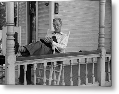 Reading A Good Book. Middle Age Man Metal Print by Everett