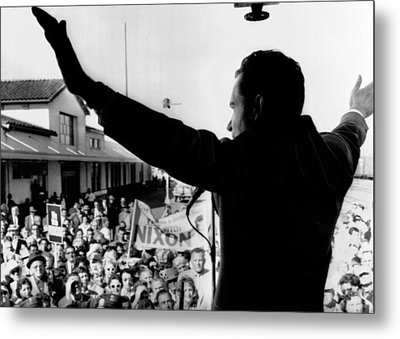Richard Nixon Campaigning For Governor Metal Print by Everett