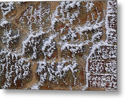 Rime-covered Brick And Stone Wall Metal Print by Mark Taylor