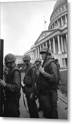 Soldiers Stand Guard Near Us Capitol Metal Print by Everett