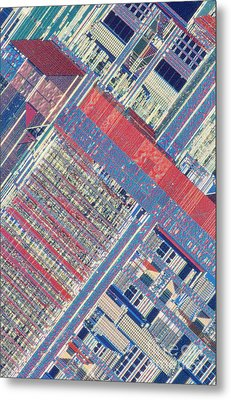 Surface Of Integrated Chip Metal Print by Michael W. Davidson