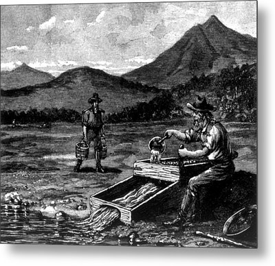 The Gold Rush, Prospector Using Metal Print by Everett