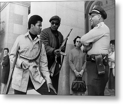 Two Armed Black Panthers, Carrying Metal Print by Everett