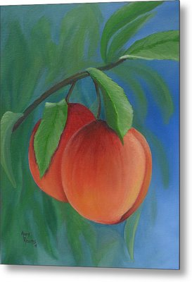 Two Peaches Metal Print by Mary Rogers